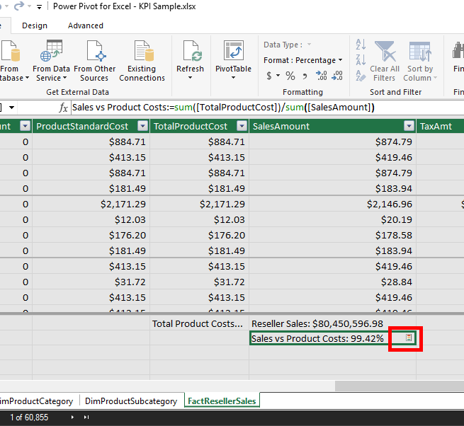 Use KPI in Table, Matrix and Card Visualisations in Power BI