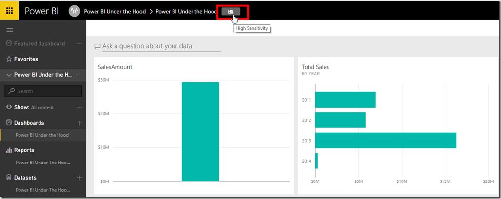Power BI Change Dashboard Data Classification
