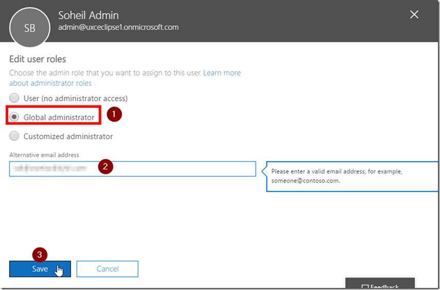 Office 365 Admin Centre Global Admin