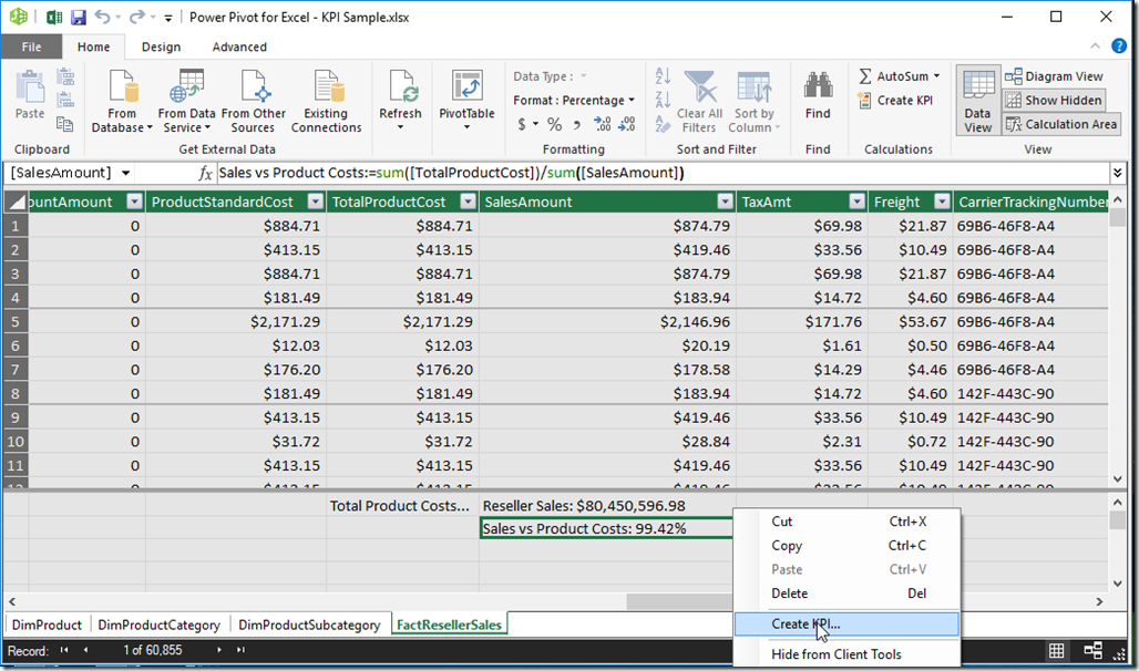 Power Pivot Create KPI