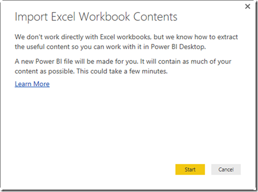 Power BI Desktop Import Excel Workbook Contents`