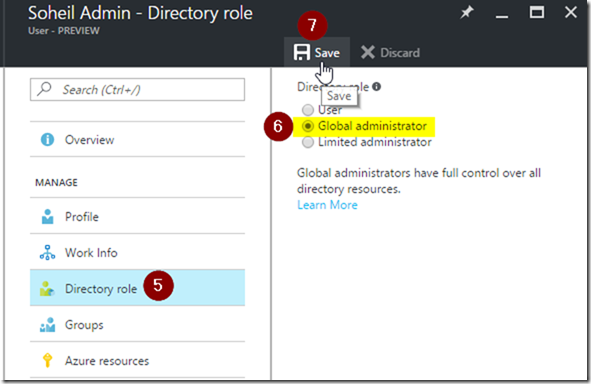 Azure Portal Active Directory User Settings