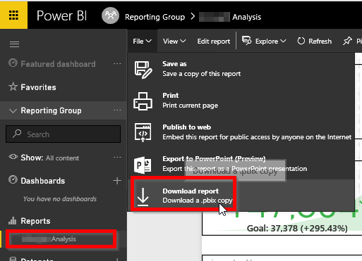 Download Report from Workspace on Power BI Service