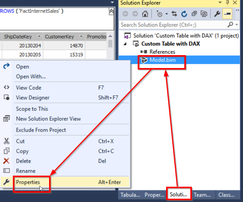 Creating Custom Table in SSAS Tabular using Table and Row