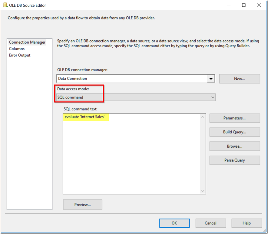 Running DAX Queries in SSIS