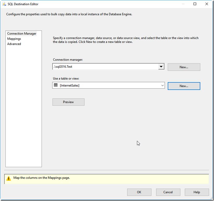 SQL Destination Editor