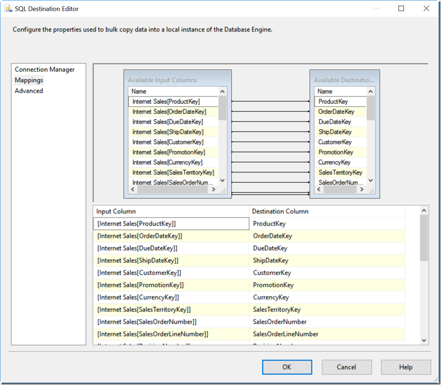 Mapping Columns in SQL Destination Editor