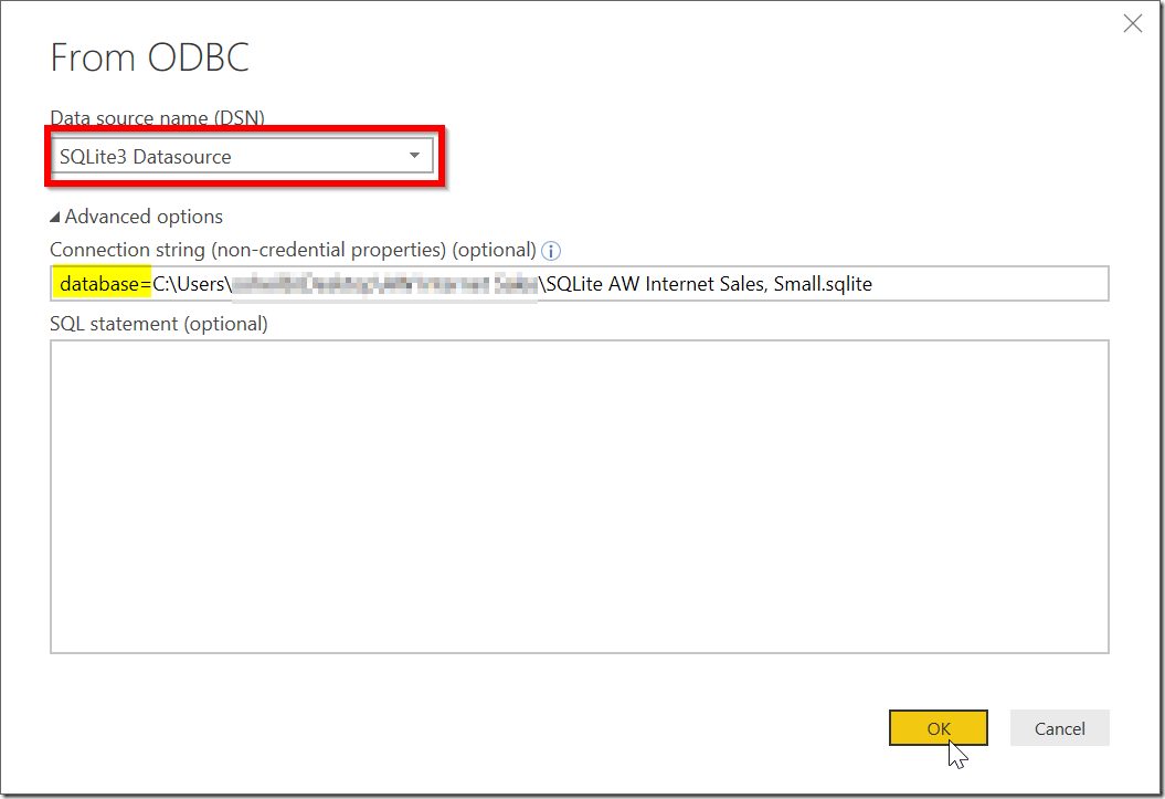 Import Data From ODBC to Power BI Using Connection String