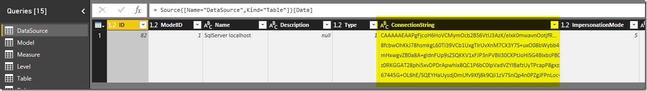 SSAS DataSource Metadata in Power BI