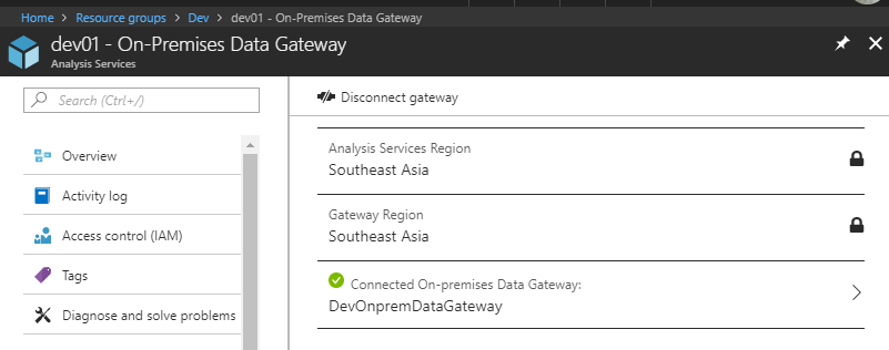 On-prem Data Gateway for Azure AS, Connected