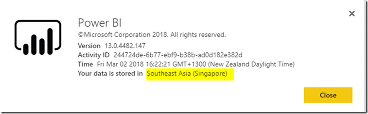 Power BI Service Data Centre Region