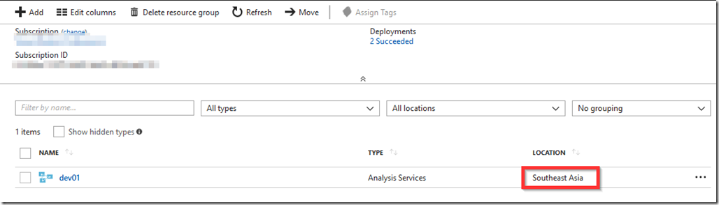 Azure Analysis Services Region