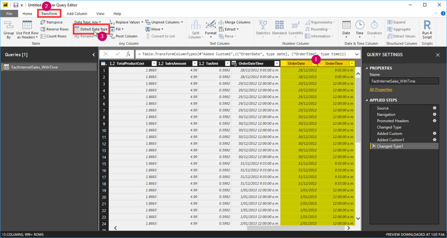 Time Dimension in Power BI and SSAS Tabular Model Supporting
