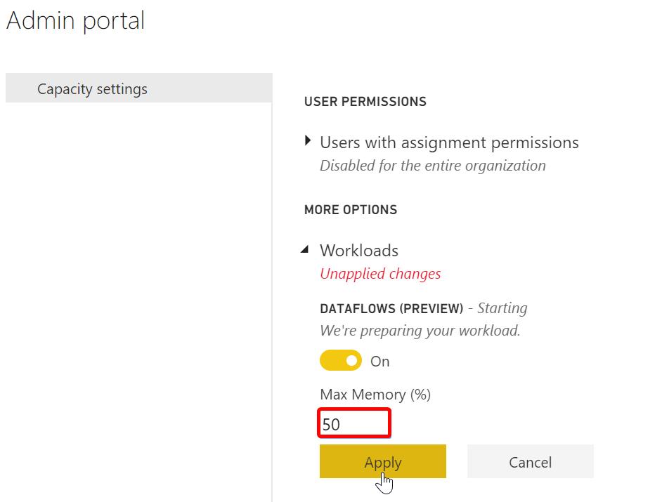 Enabling Dataflows in Power BI Service