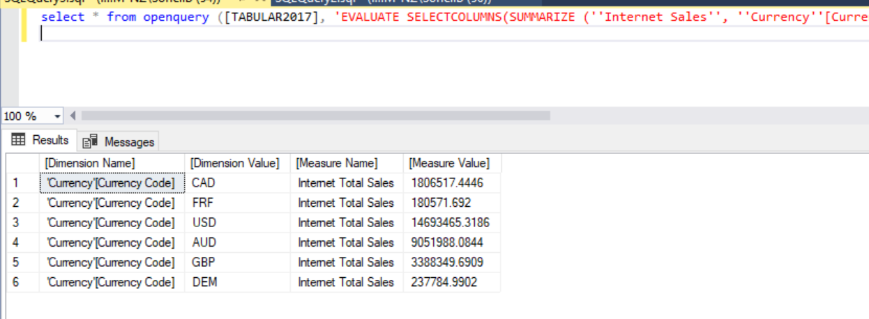 Running Generated DAX Manually in SSMS