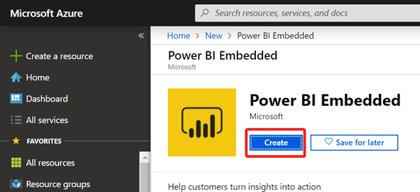Creating Power BI Embedded Capacity in Azure Portal