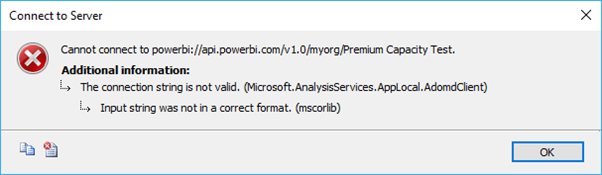 Error in SSMS when connecting to Power BI Service Premium Workspace