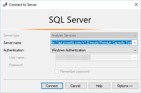 Connecting from SSMS to Power BI Premium XMLA endpoint