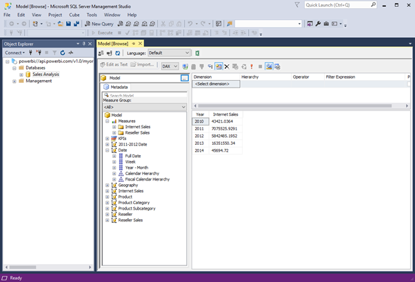 Browsing Power BI Premium in SSMS with XMLA endpoint