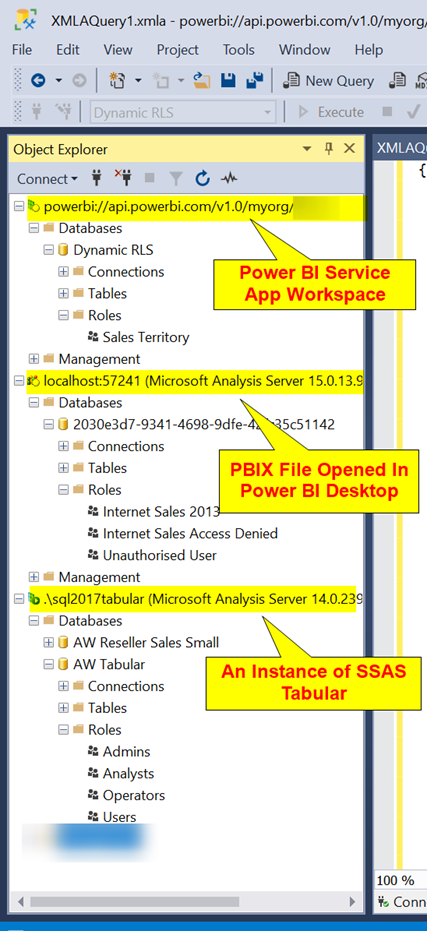 SSMS Connected to Power BI Service  Through XMLA Endpoints