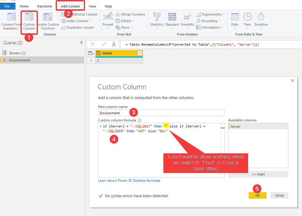 Add a new custom column to the query in Power BI Query Editor