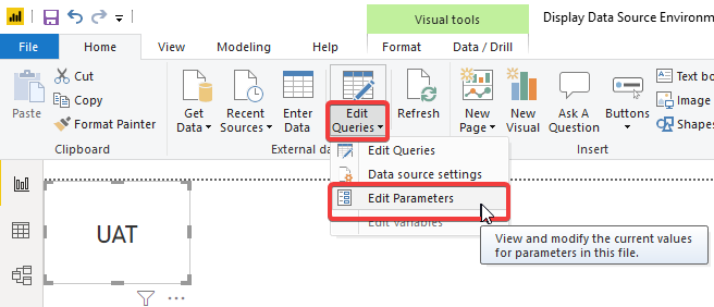 Edit prarameters' values in Power BI Desktop