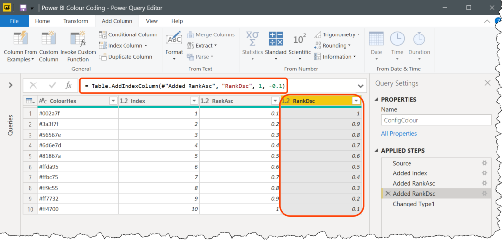 Using Table.AddIndexColumn function in Power Query with descending decimal values