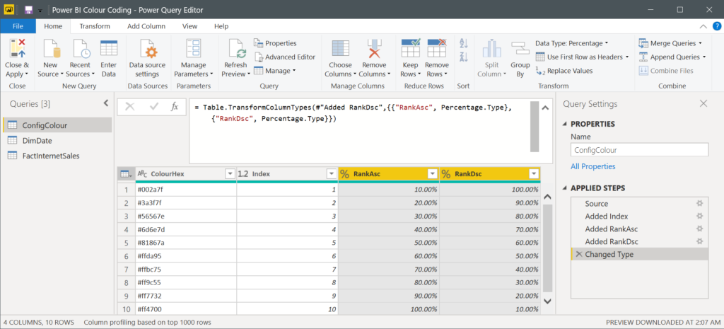 Changing Columns Data Types to Percentage in Power BI