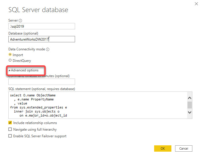 Running T-SQL query in Power BI Desktop