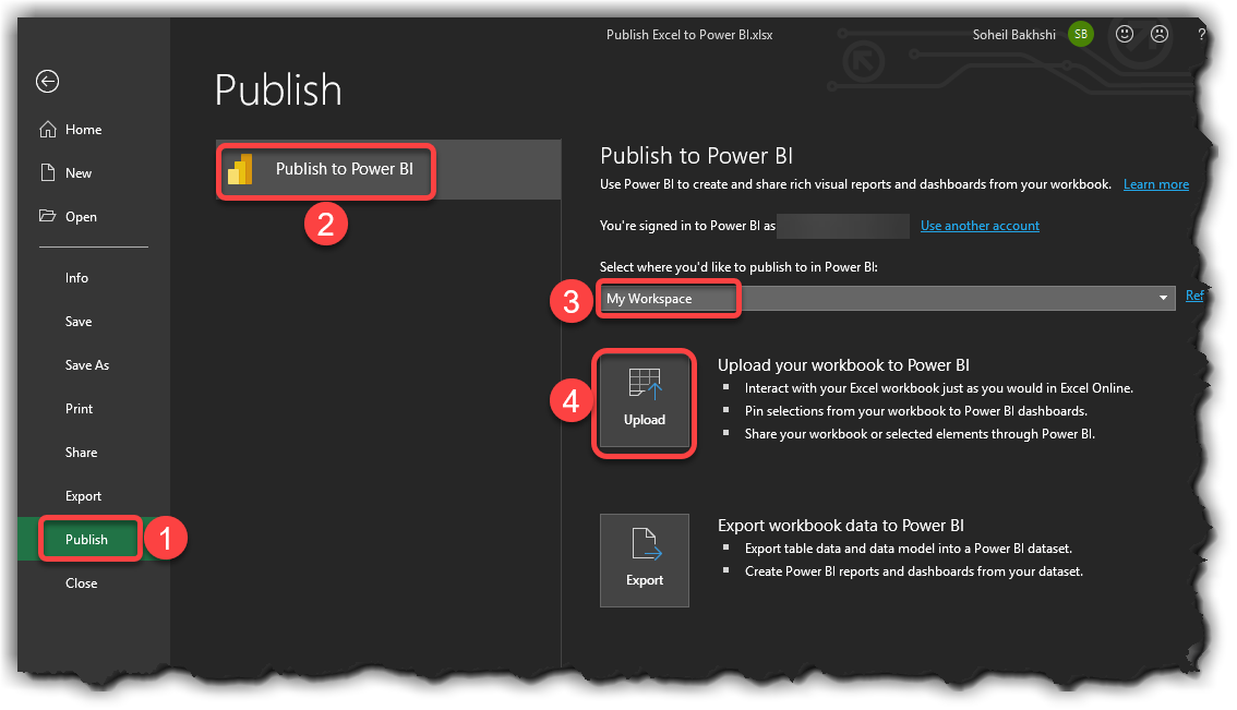 Publishing Excel reports to Power BI Service